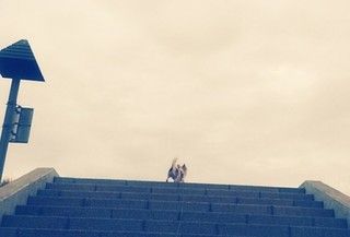 階段を登るハヤテ2